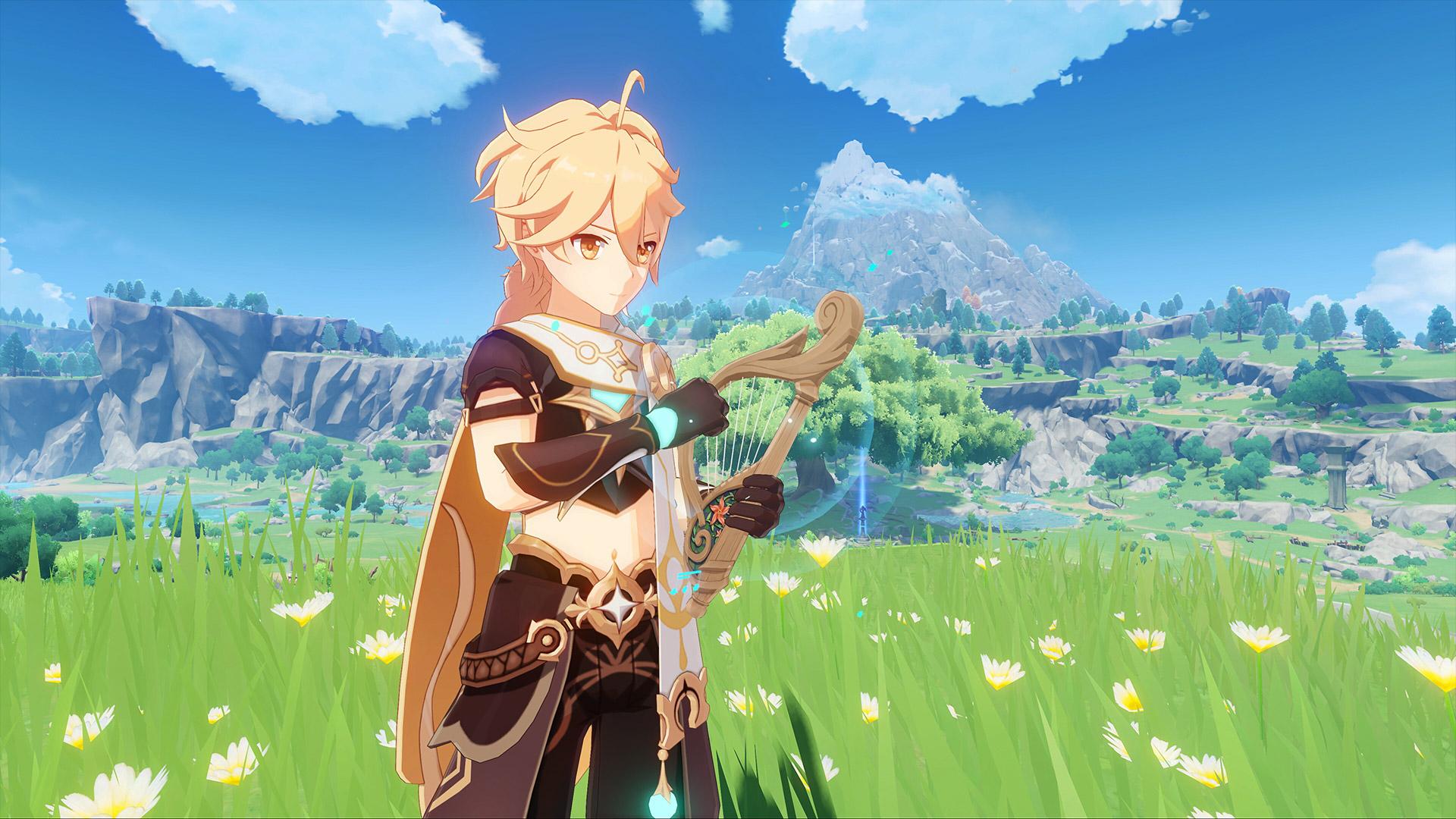 Genshin Impact Traveler Playing Music