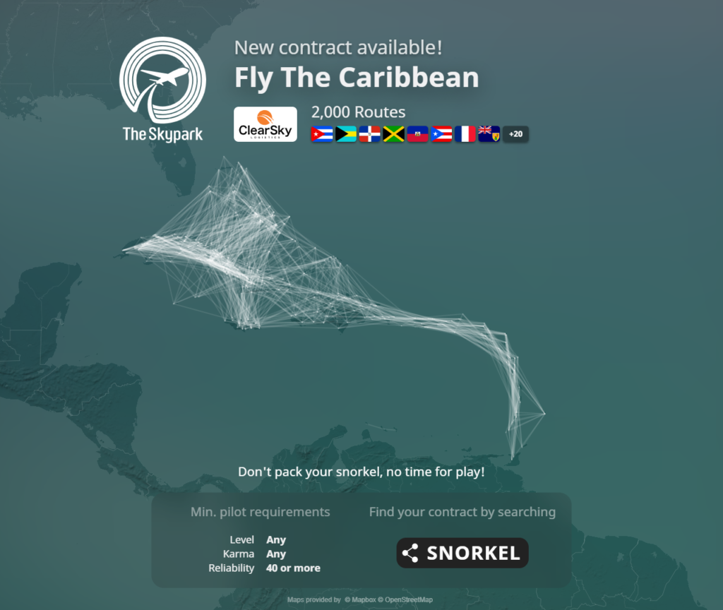 A map image showing all 2,000 routes added in the Caribbean. It's a mass of white lines.