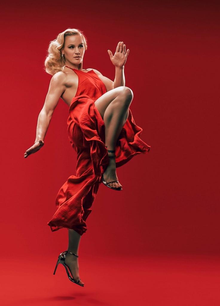 valentina schevchenko red dress kick