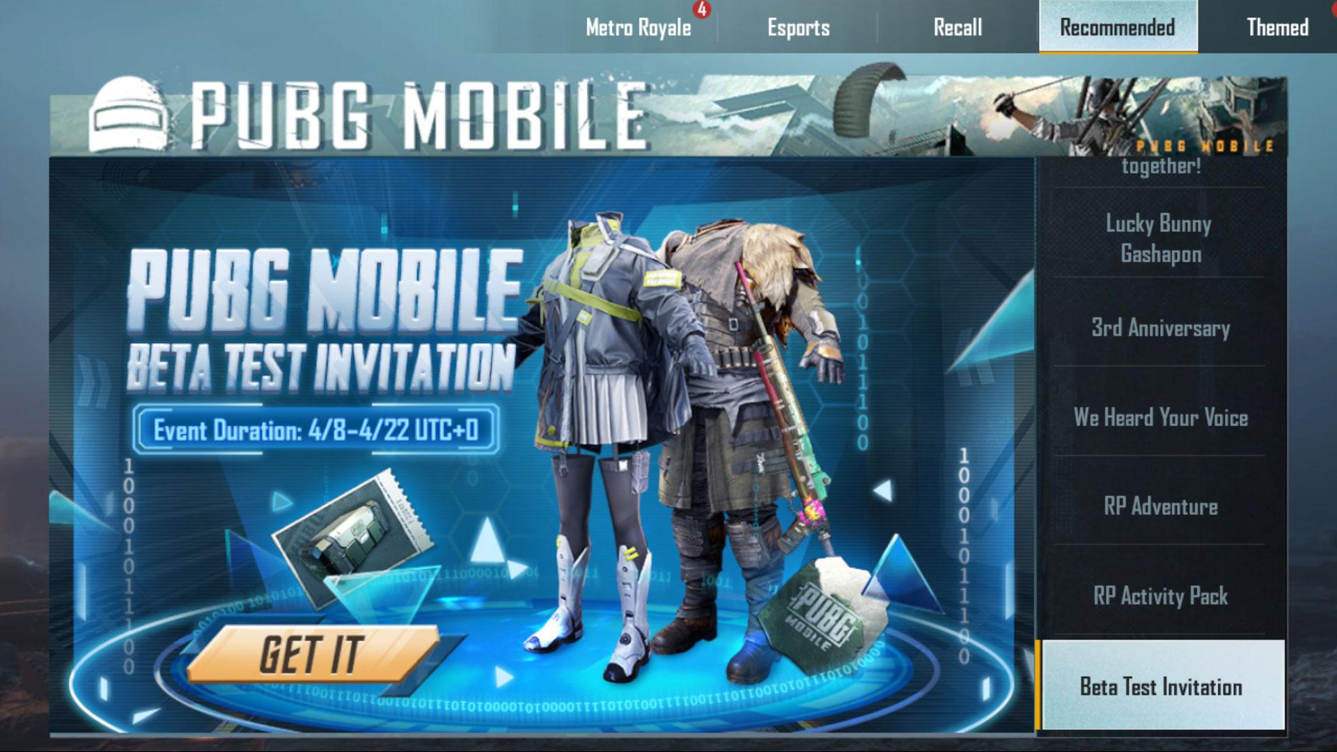 PUBG Mobile 1.14.0 Beta invite