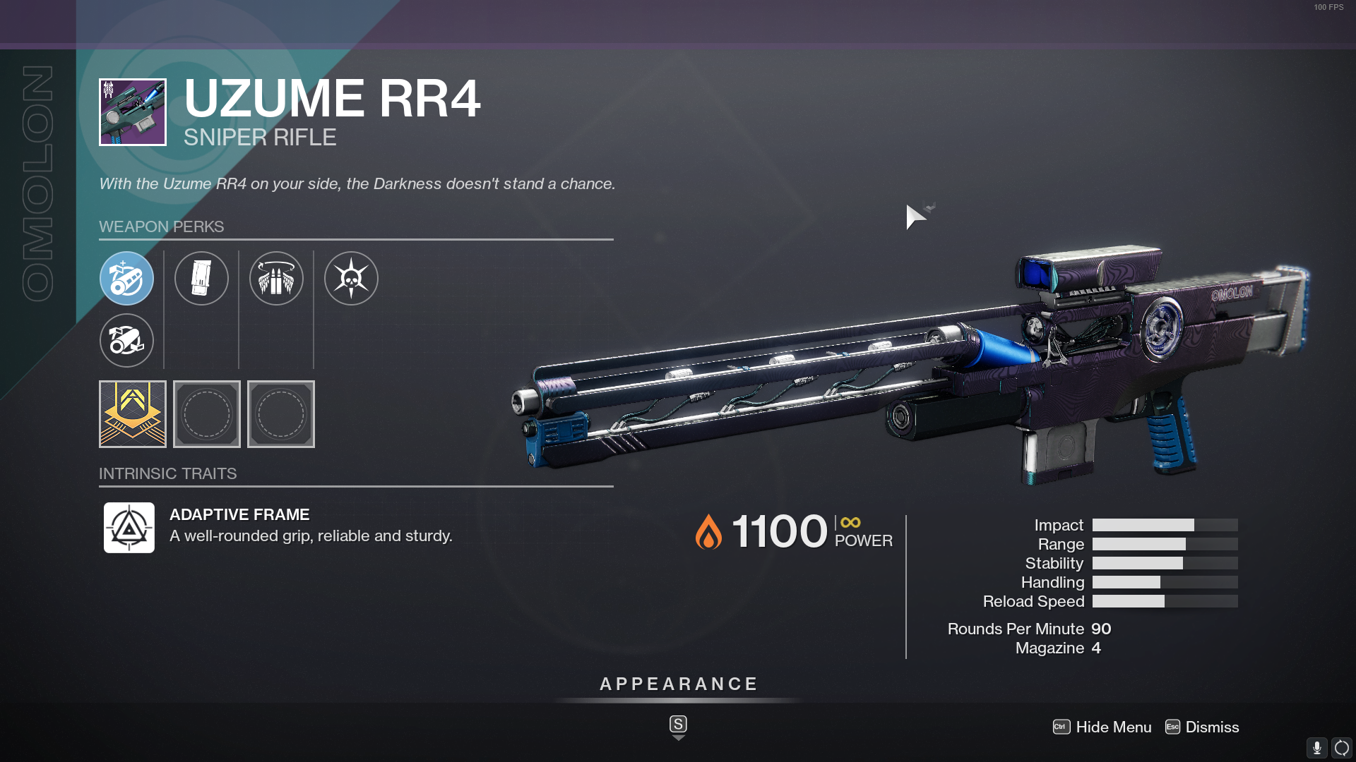 Destiny 2 Uzume RR4 God Roll