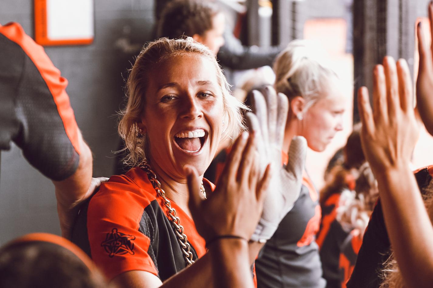 Sydney Pennington after setting the Oklahoma State career home run record in the first weekend of the NCAA softball tournament.