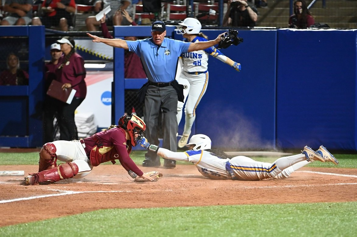 UCLA and FSU competing in the Women's College World Series.
